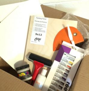 Box of art supplies