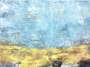 Blue and Gold Abstract Cold Wax and Oil Painting